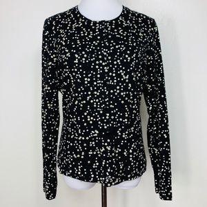 Talbots Cardigan Sweater Button Sequin Merino Wool